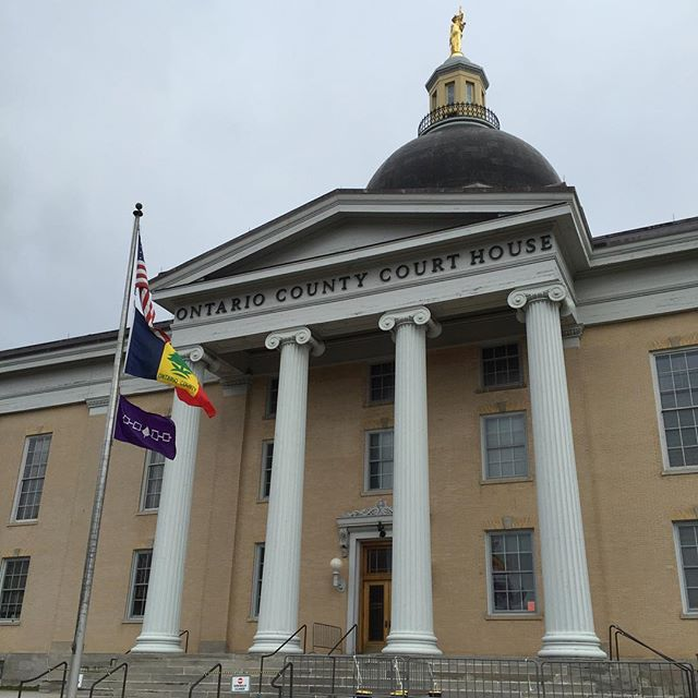 Flag of the Iroquois Confederacy flying at the Ontario County Court House, on the 221st anniversary of the Canandaigua Treaty between the United States and the Haudenosaunee.