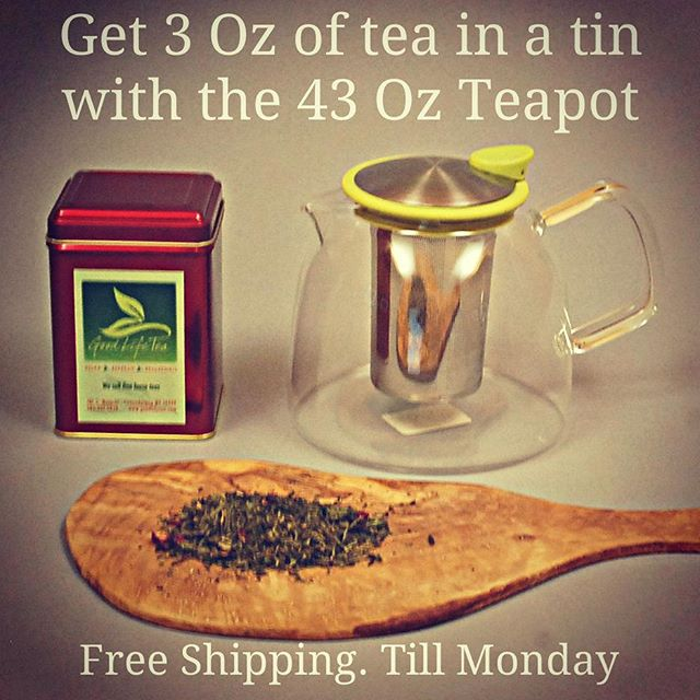 Sale. Free shipping and #freetea. Online and in-store. thru #cybermonday.