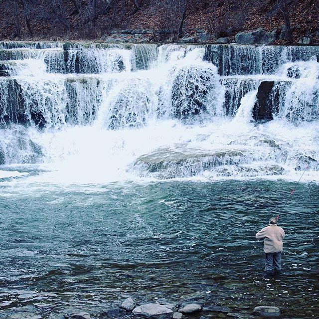 Chilly, beautiful, wild waterfall {featuring the fishing lady }