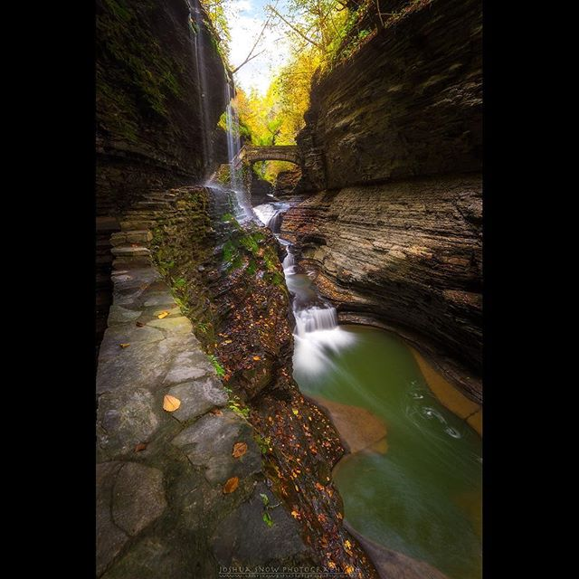 "Interested in learning to photograph landscapes like this one? Please keep an eye out for announcements regarding workshops to be held around the finger lakes region where we will cover ""intro to DSLR photography"", ""composing and executing landscape images"", ""use of filters"", ""night photography"", and post processing. Here is another image of the iconic ""Rainbow Falls"" of Watkins Glen State Park. Always a pleasure to have it mostly to myself. Enjoy! Likes and shares are always welcomed! Nikon D750