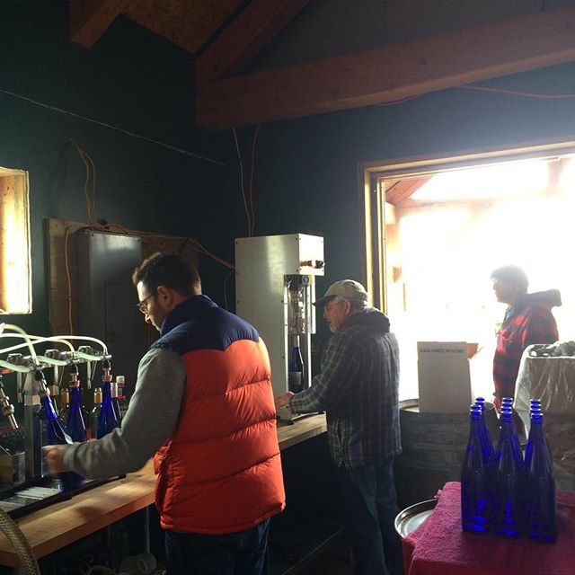 LiBella bottling on a winters day don't like the weather -wait a minute #shawvineyard. come on spring!